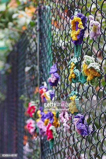 City Fence Flower Yarn Bomb