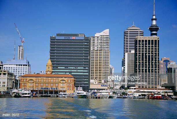 City ferry port terminal and Sky Tower, Auckland, North Island, New Zealand, Pacific
