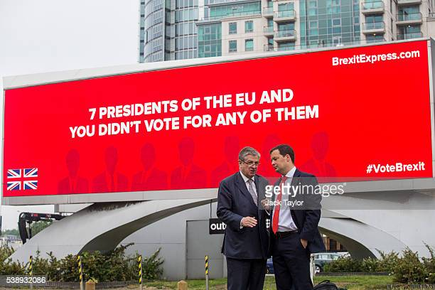City financier Jeremy Hosking and cofounder of 'Brexit Express' Alex Deane during a photo call to launch a new European Union referendum campaign...