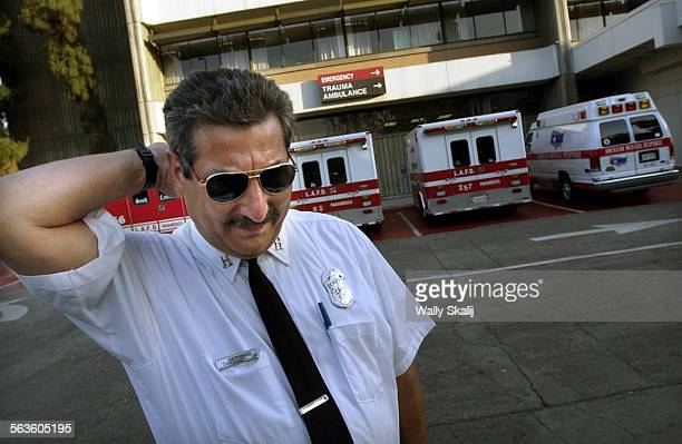 LA City Fire paramedic Capt Mark segal says he has seen a rise in waiting time for beds at local hospitals as he stands outside Martin Luther King Jr...