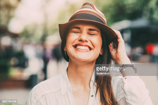 city girl - toothy smile stock pictures, royalty-free photos & images