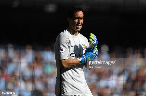 City goalkeeper Claudio Bravo looks on during the Premier League match between Manchester City and AFC Bournemouth at Etihad Stadium on September 17...