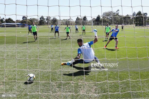 City goalkeeper Dean Bouzanis fails to stop a goal during a Melbourne City ALeague training session on October 16 2017 in Melbourne Australia