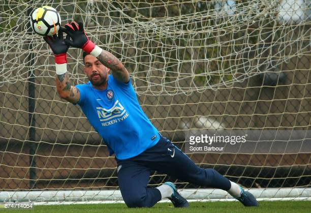 City goalkeeper Dean Bouzanis makes a save during a Melbourne City ALeague training session on November 16 2017 in Melbourne Australia