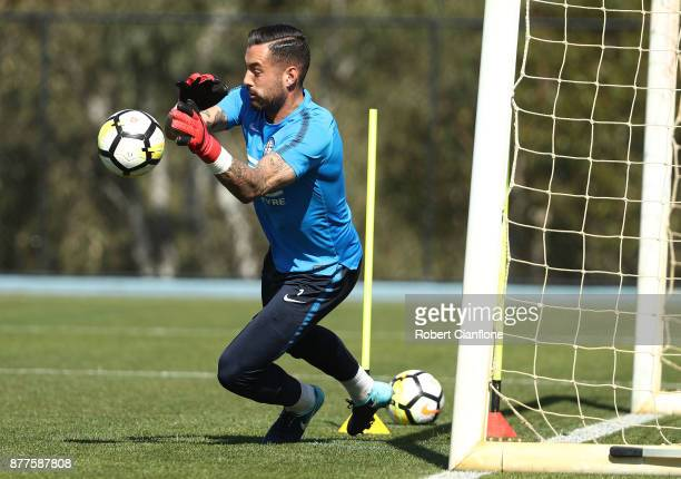 City goalkeeper Dean Bouzanis makes a save during a Melbourne City ALeague training session at City Football Academy on November 23 2017 in Melbourne...
