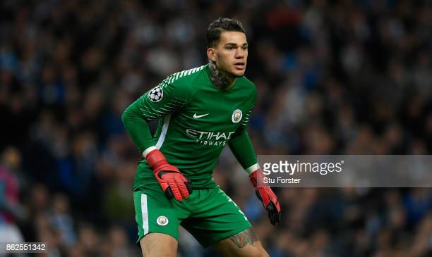 City goalkeeper Ederson in action during the UEFA Champions League group F match between Manchester City and SSC Napoli at Etihad Stadium on October...