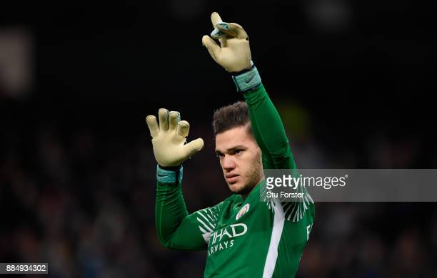 City goalkeeper Ederson Moraes reacts during the Premier League match between Manchester City and West Ham United at Etihad Stadium on December 3...