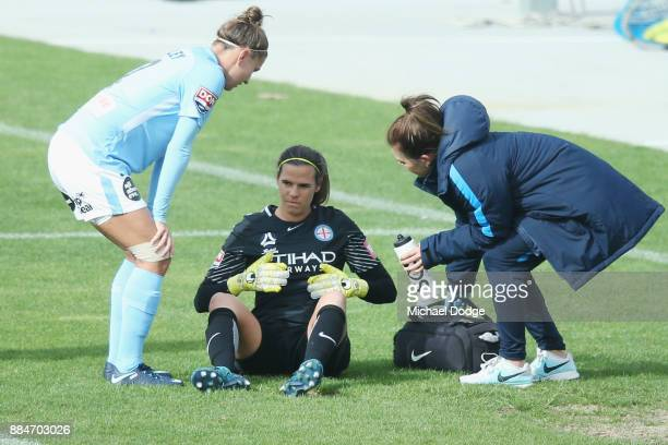 City Goalkeeper Lydia Williams gets up after defending the ball bravely during the round six WLeague match between Melbourne City and Adelaide United...