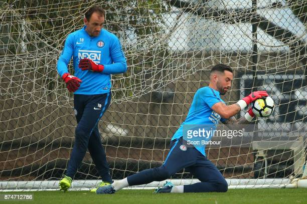 City goalkeepers Dean Bouzanis and Eugene Galekovic in action during a Melbourne City ALeague training session on November 16 2017 in Melbourne...