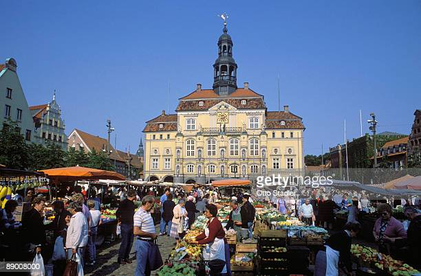 city hall at lueneburg, germany - lüneburg stock photos and pictures