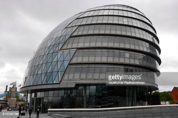 City Hall building in London. Glass round shaped building located near Tower bridge.