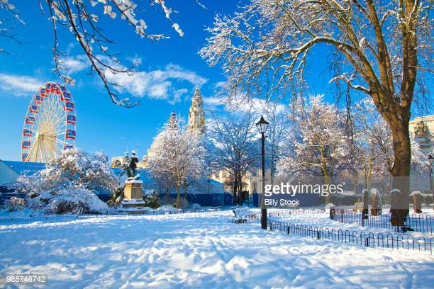 city hall, cathays park, civic centre in snow, cardiff, wales, united kingdom, europe - cardiff wales stockfoto's en -beelden