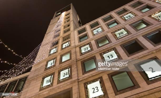 city hall during christmas time, stuttgart, germany - advent calendar fotografías e imágenes de stock