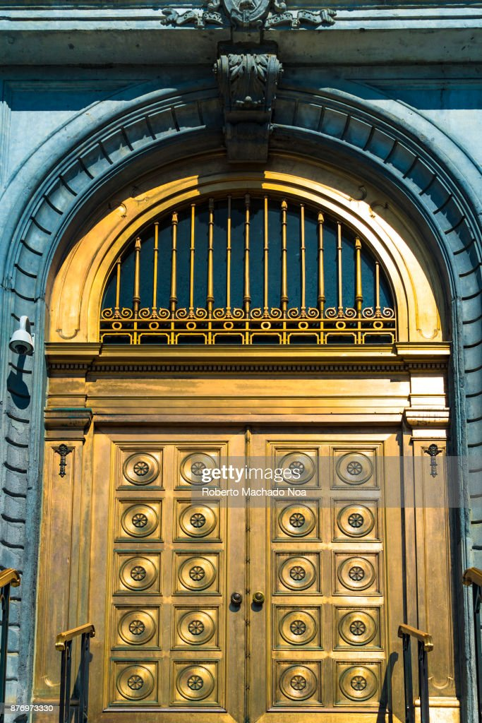 City Hall golden doors close up. The municipal government seat is located in the Unesco & City Hall golden doors close up. The municipal government ...
