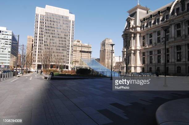 City Hall has become a ghost town along with much of Center City in Philadelphia PA on March 26 2020
