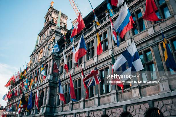 city hall in antwerp - government stock pictures, royalty-free photos & images