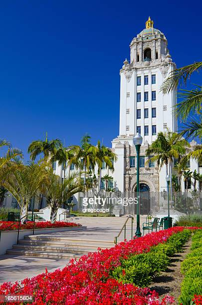 city hall in beverly hills, ca - beverly hills california stock pictures, royalty-free photos & images