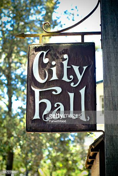 city hall local town government old wood sign, carmel california - carmel california stock photos and pictures