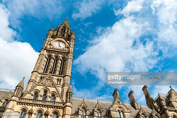 city hall, manchester, england - town hall stock photos and pictures