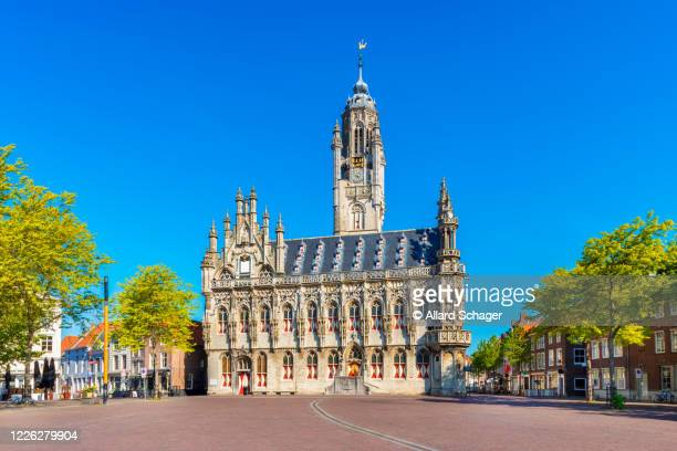city hall of middelburg zeeland netherlands - middelburg netherlands stock pictures, royalty-free photos & images