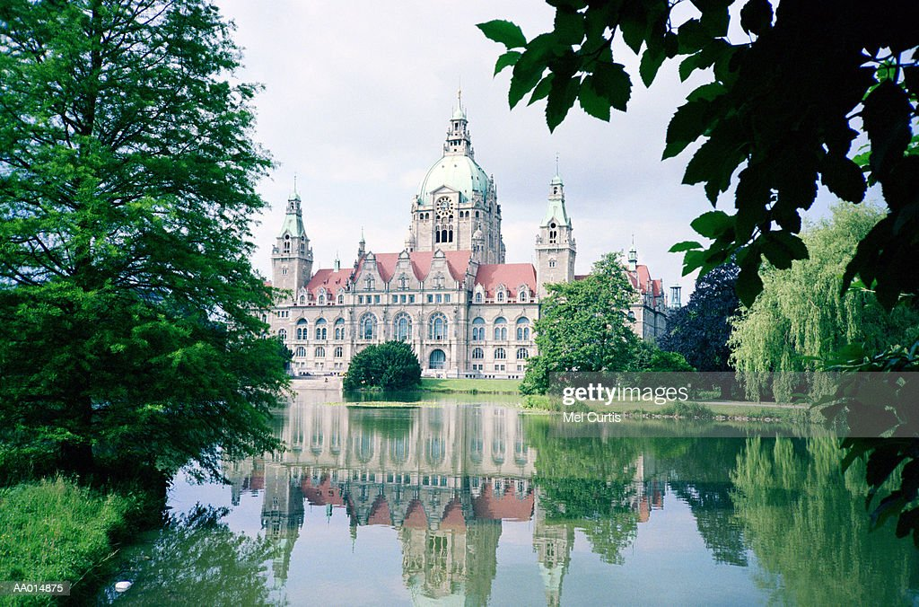 City Hall Reflected in a Pond in Hanover, Germany : Stock Photo