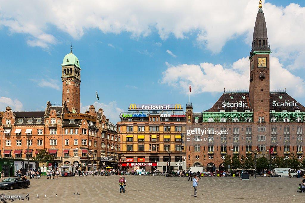 City hall square in the heart of Copenhagen : Stock Photo