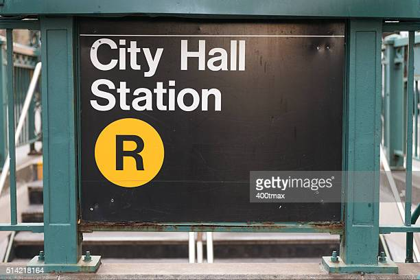 city hall station - underground sign stock pictures, royalty-free photos & images