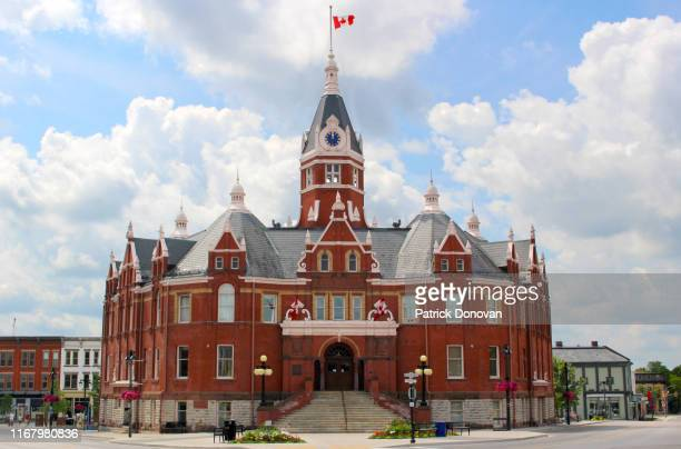 city hall, stratford, ontario, canada - town hall stock pictures, royalty-free photos & images