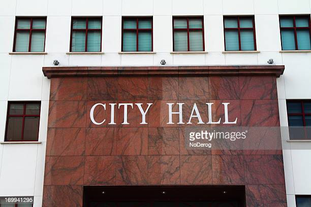City Hall text on municipal office building