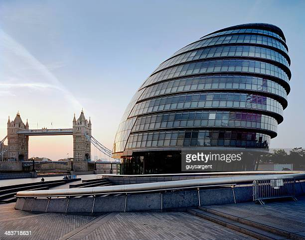 city hall & tower bridge, london, uk. - town hall stock photos and pictures