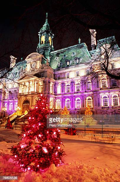 city hall with illuminated christmas trees, quebec, canada - place jacques cartier stock pictures, royalty-free photos & images