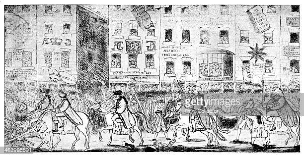 'City Horsemanship or Procession to St Paul's' 1789 Royal procession to St Paul's Cathedral in London signs say Seats to Let St George's Day and God...