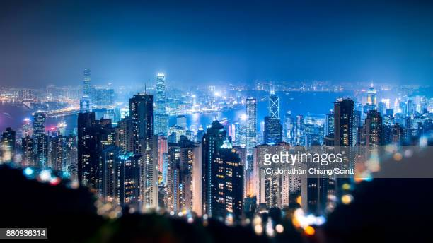 city in a crater - hong kong stock pictures, royalty-free photos & images