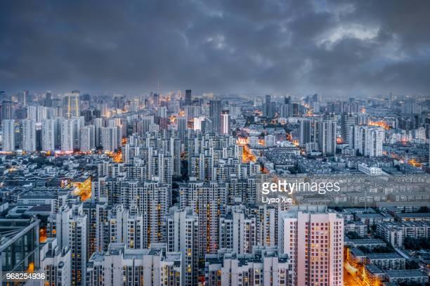 City in storm