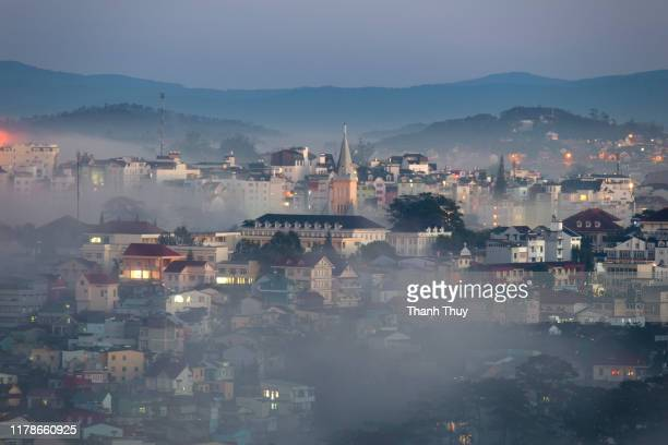 city in the mist at dawn - turin stock pictures, royalty-free photos & images