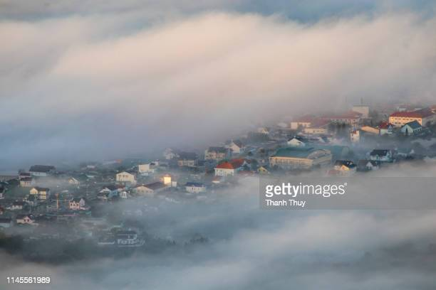 City in the the mist from above
