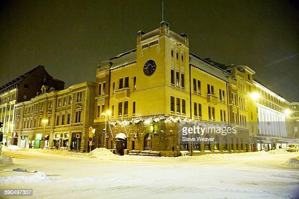 City in the winter snow, Turku, Finland