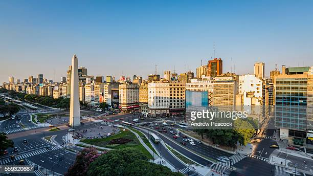 a city landmark, obelisk on ave 9 de julio - buenos aires stock pictures, royalty-free photos & images