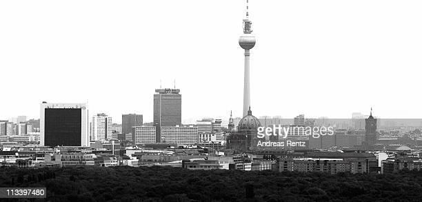 City landmarks as the Berlin television tower and Tiergarten parc are pictured on May 2 2011 in Berlin Germany