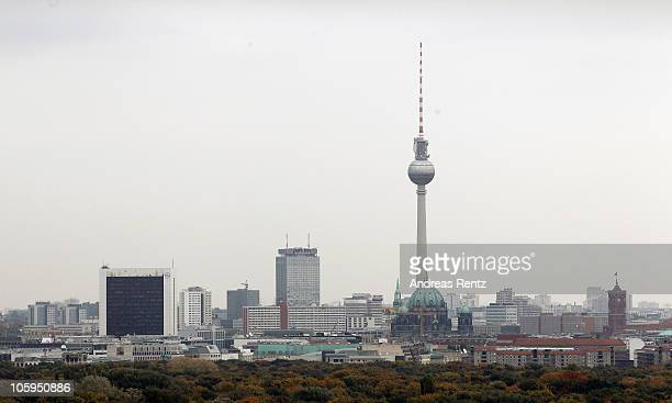 City landmarks as the Berlin television tower are pictured on October 22 2010 in Berlin Germany