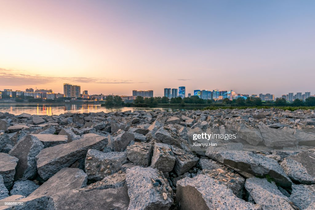 city landscape and destroyed concrete blocks stock photo getty images