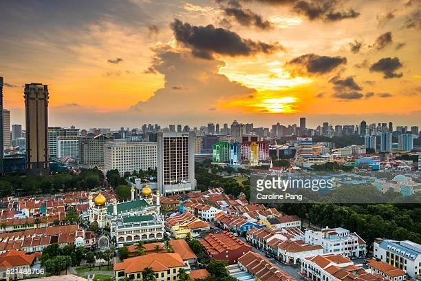 City landscape at sunset.