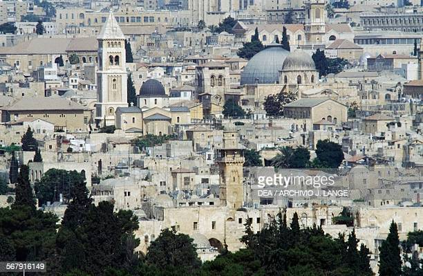 City landscape of the Christian and Muslim quarters Old City of Jerusalem Israel