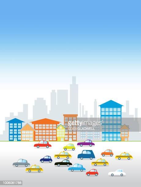 City life illustration of cars and office buildings