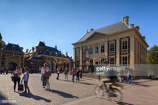 city life in the hague - binnenhof stock photos and pictures