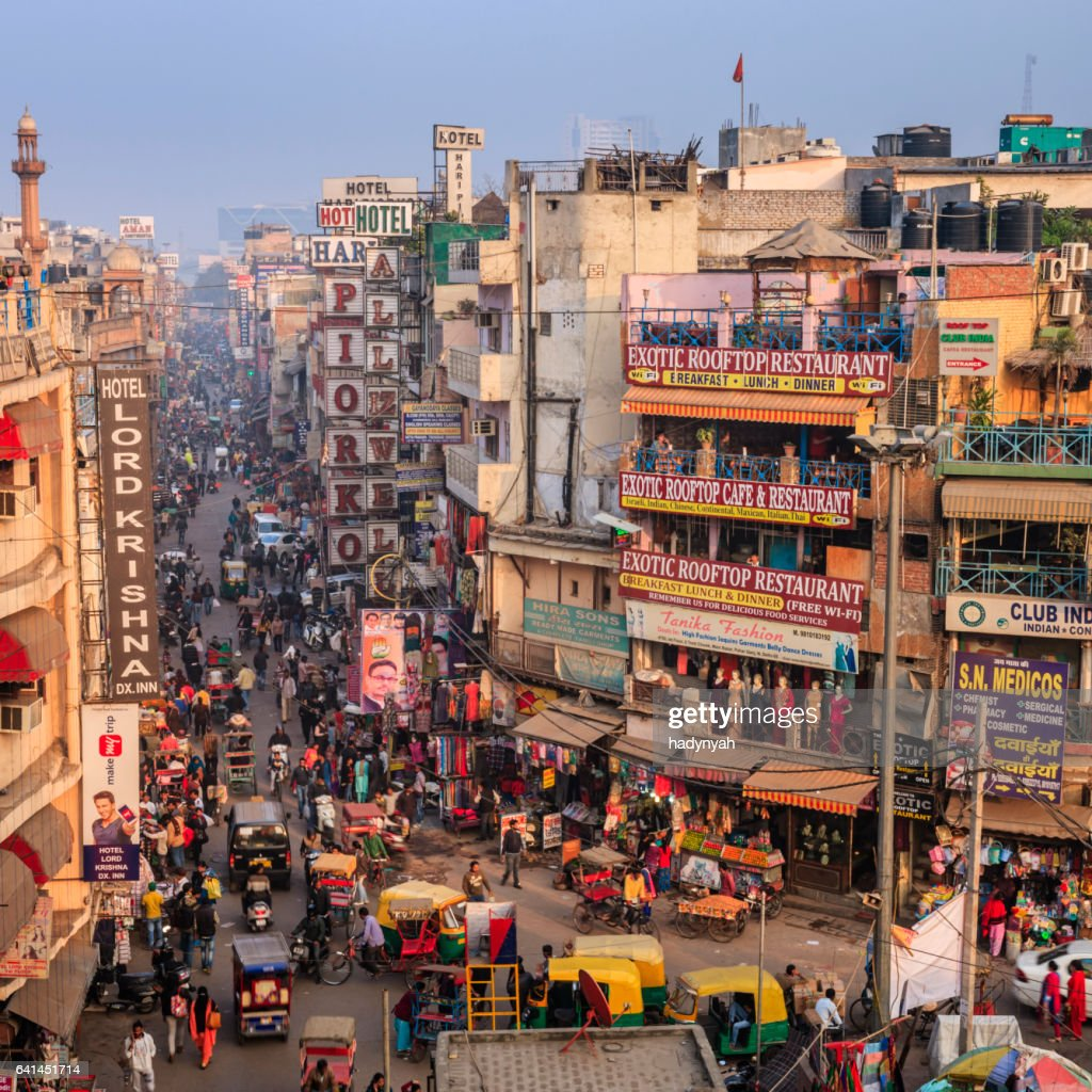 City life - Main Bazar, Paharganj, New Delhi, India : Stock Photo