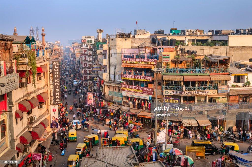 City life - Main Bazar, Paharganj, New Delhi, India : Stock Photo