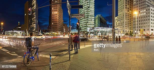 City life - traffic and car lights at rush hour in Berlin, Potsdamer Platz