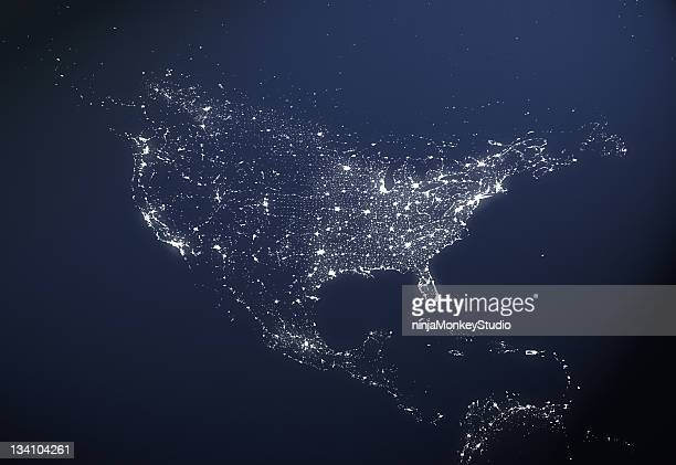 usa city light map - north america stock pictures, royalty-free photos & images