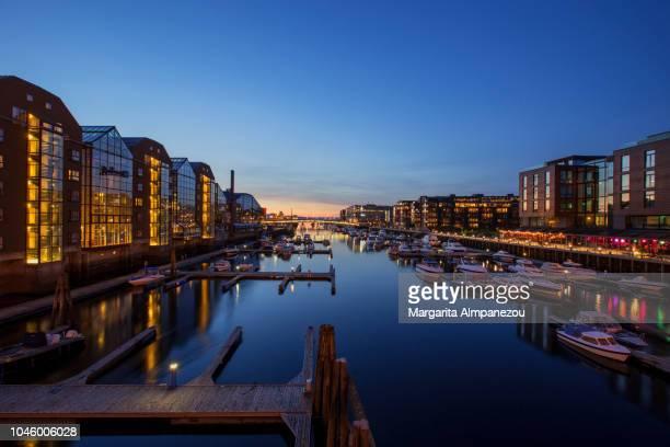 City lights across River Nidelva in Trondheim